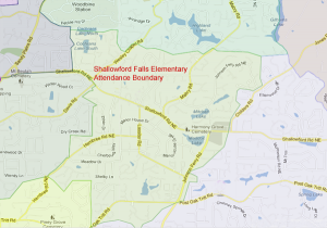 Shallowford Falls Elementary Attendance Zone Map